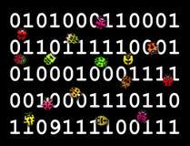 跑在数字式代码的五颜六色的臭虫 库存图片