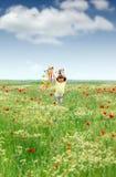 跑在春天草甸的小女孩 免版税库存照片