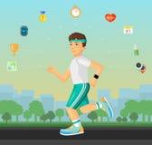 跑在有套的街道上的赛跑者人平的物质设计炫耀健身象 免版税图库摄影