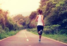 跑在森林足迹的健身妇女 免版税库存图片