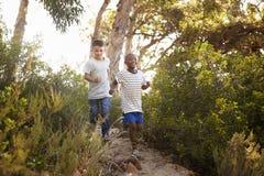跑在森林道路下的两个微笑的年轻男孩 库存图片