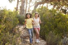 跑在森林里的两个微笑的女孩在阳光下 图库摄影