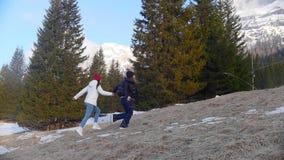 跑在森林里的两旅行的年轻女人 股票视频