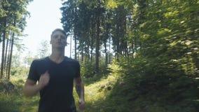 跑在森林里的英俊的白种人人在晴天期间 股票录像