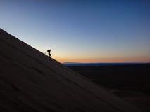 跑在沙丘 免版税库存照片