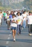 跑在海得拉巴10K的女孩跑事件,印度 免版税库存图片
