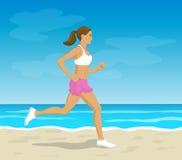 跑在海滩传染媒介例证的妇女 免版税库存照片