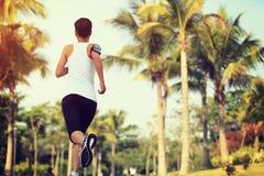 跑在热带公园的赛跑者运动员 免版税库存照片