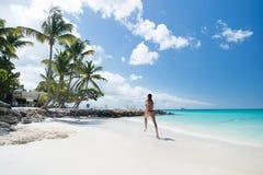 跑在热带海滩的少妇 库存照片