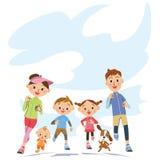 跑在父母和孩子 图库摄影