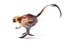 跑在白色背景的被绘的猴子 向量例证