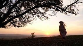 跑在草甸的三个小女孩剪影在树附近在日落期间 免版税库存图片