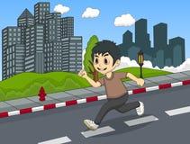 跑在街道动画片的小男孩 库存图片