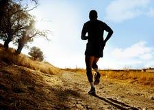 跑在越野锻炼的乡下的年轻体育人剪影在夏天日落 免版税库存图片