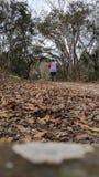 跑在足迹的妇女 免版税库存图片