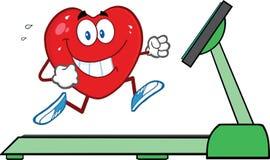 跑在踏车的健康心脏 库存照片