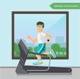 跑在踏车的赛跑者人在健身体育中心 免版税库存图片