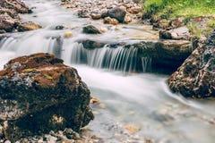 跑在阿尔卑斯意大利人白云岩的生苔岩石的森林小河 图库摄影