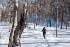 跑在雪的妇女 免版税库存照片