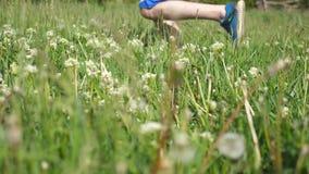 跑在领域的男性脚 跑步在绿草的运动员的腿本质上 炫耀去在农村足迹的赛跑者 交叉 影视素材