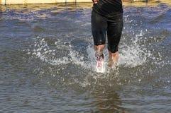 跑在水中 库存照片