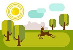 跑在晴朗的草甸的小鹿 在距离是城市` s skyl 免版税库存照片