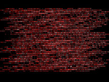 跑在黑背景的二进制编码一个屏幕 蓝色数字 免版税库存照片