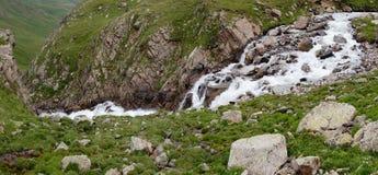 跑在绿色山谷的石头之间的河 库存图片
