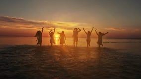 跑小组愉快的朋友浇灌在日落-获得活跃的人民剪影在海滩的乐趣在度假 股票视频