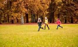 跑小组愉快的小孩户外 库存图片