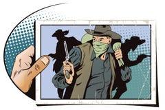 跑掉与金钱的强盗 牛仔狂放的西部 皇族释放例证