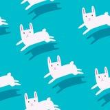 跑无缝的样式的白色兔子 免版税库存照片