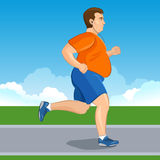 跑步一个肥胖动画片的人的例证,减重概念, 图库摄影