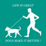 跑步与在皮带的狗的人剪影 免版税库存图片