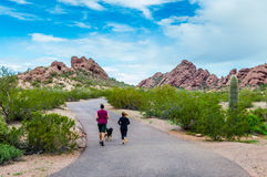 跑步与狗的夫妇 免版税库存图片