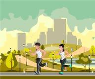 跑步在城市公园的夫妇 向量例证