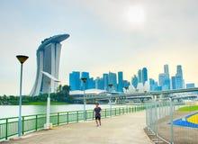 跑步在新加坡街市 免版税库存照片