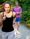 夫妇赛跑 免版税库存照片