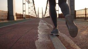 跑步在桥梁的日出的特写镜头女性腿 股票录像