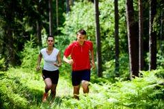 跑步在森林里 库存照片