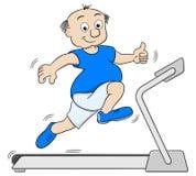 跑步在踏车的超重人 免版税图库摄影