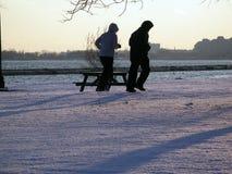 跑步的冬天 库存照片