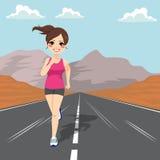 跑步的女孩路 向量例证