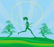 跑步的女孩-看板卡 免版税库存照片