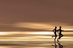 跑步的日出 免版税库存图片