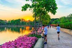 跑步的道路在日落的Benajkitti公园 免版税库存照片