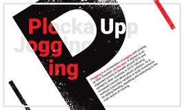 跑步采伐的首创和与黑大写字母P的plocka upp 免版税库存图片