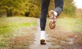跑沿公园道路、医疗保健和问题概念-遭受在腿或膝盖的痛苦的一个不快乐的人的特写镜头 库存图片