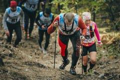 跑沿在登上的一串森林足迹的小组运动员 免版税图库摄影