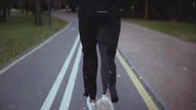 跑沿秋天公园路的人 回到视图 掀动 慢的行动 跑步在一个平安的安静的胡同的运动员 股票视频